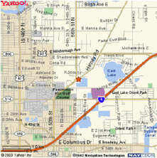 Map displaying the area around the Tampa office